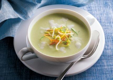 Suppen-Rezept: Kartoffel-Suppe mit Lauch und Soja (Vegetarier geeignet) - Foto: Wirths PR