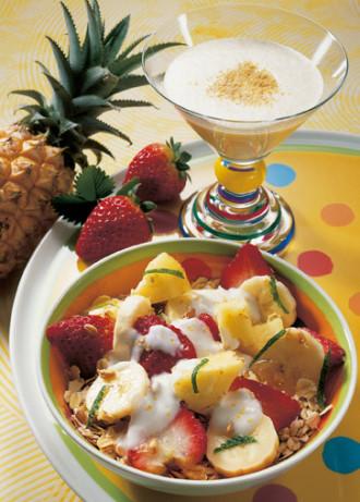 Rezept: Weizenkeim-Müsli mit Bananenmilch (Vegetarier geeignet) - Foto; Wirths PR