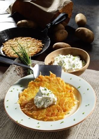 Hauptgericht: Kartoffelpuffer mit Schnittlauch-Quark (Vegetarier geeignet) - Wirths PR