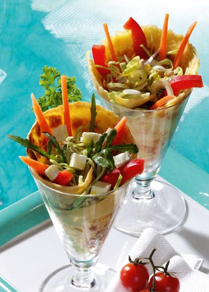Snack-Rezept: Joghurt-Wraps mit knackiger Rohkost (Vegetarier geeignet)